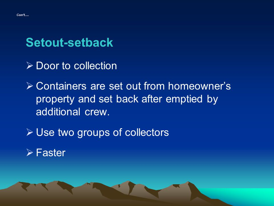 Setout-setback Door to collection