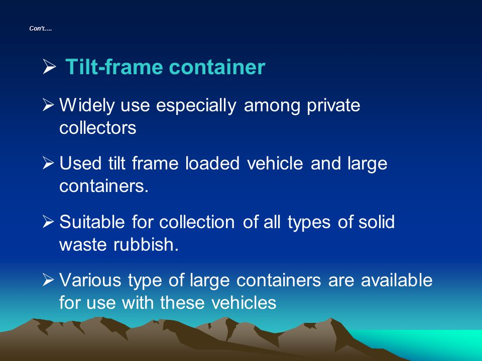 Tilt-frame container Widely use especially among private collectors