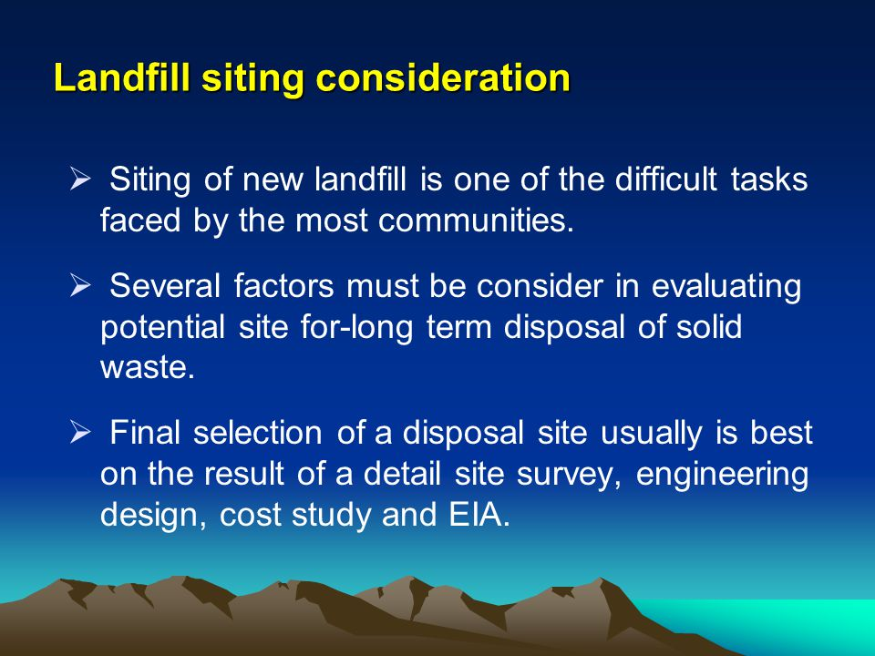Landfill siting consideration