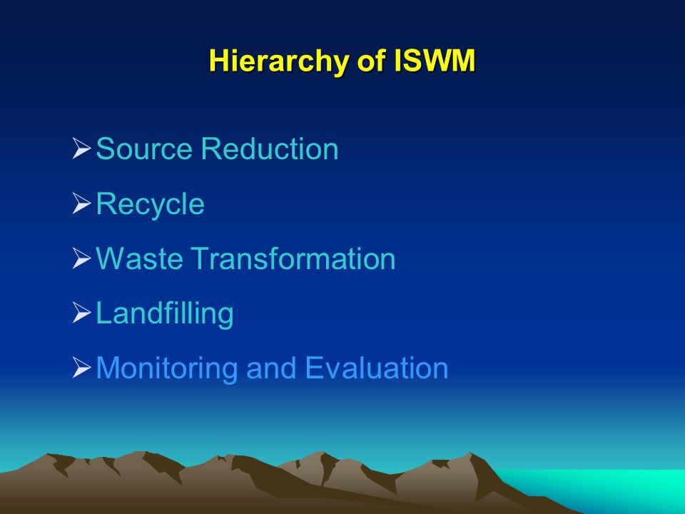 Hierarchy of ISWM Source Reduction. Recycle. Waste Transformation.