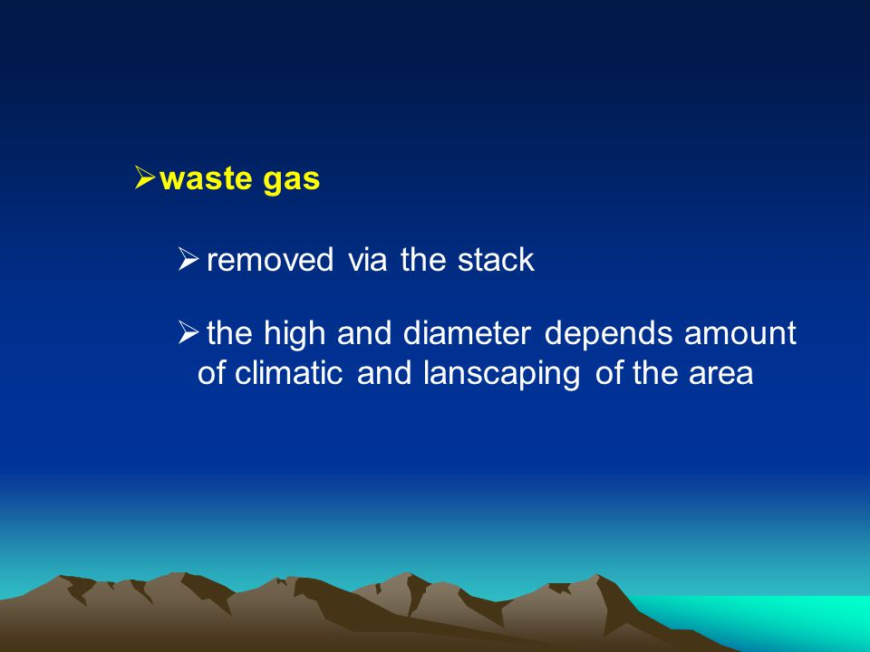 waste gas removed via the stack.