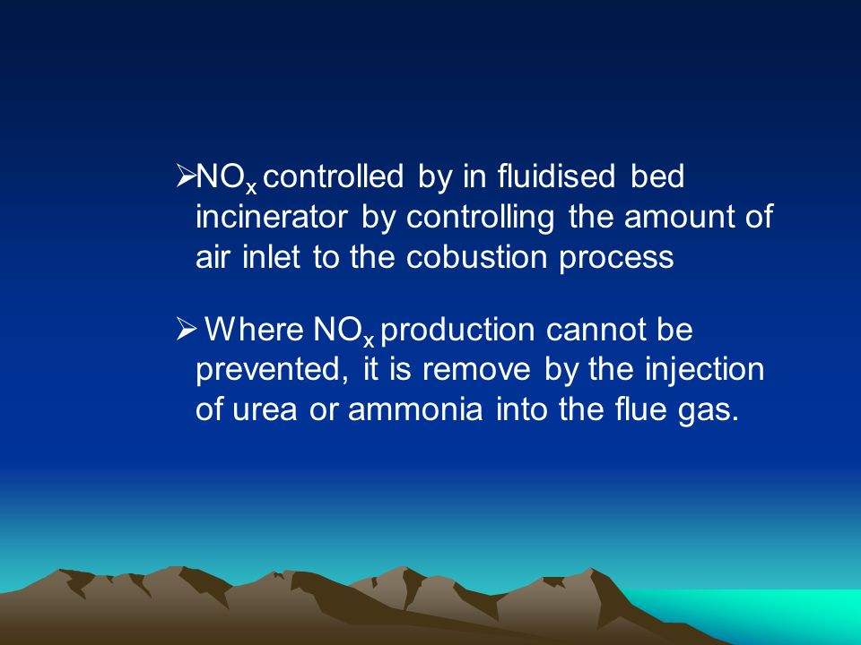 NOx controlled by in fluidised bed incinerator by controlling the amount of air inlet to the cobustion process