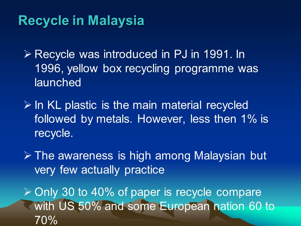 Recycle in Malaysia Recycle was introduced in PJ in 1991. In 1996, yellow box recycling programme was launched.