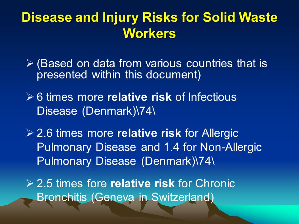 Disease and Injury Risks for Solid Waste Workers