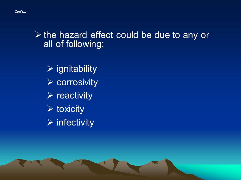 the hazard effect could be due to any or all of following: