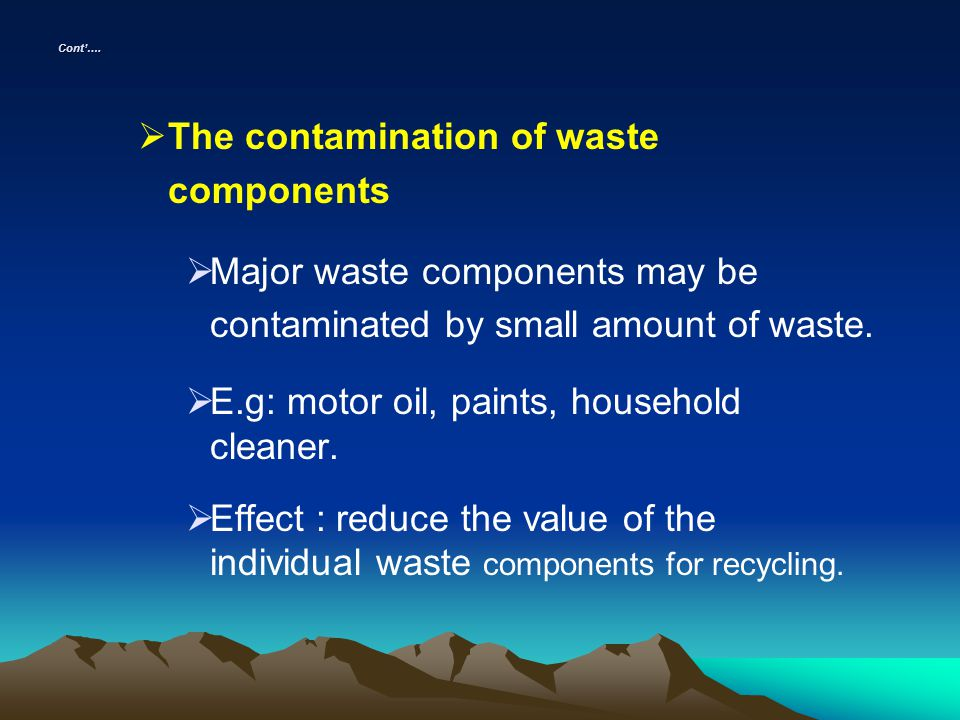 The contamination of waste components