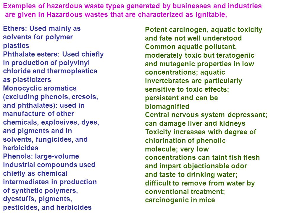 Examples of hazardous waste types generated by businesses and industries