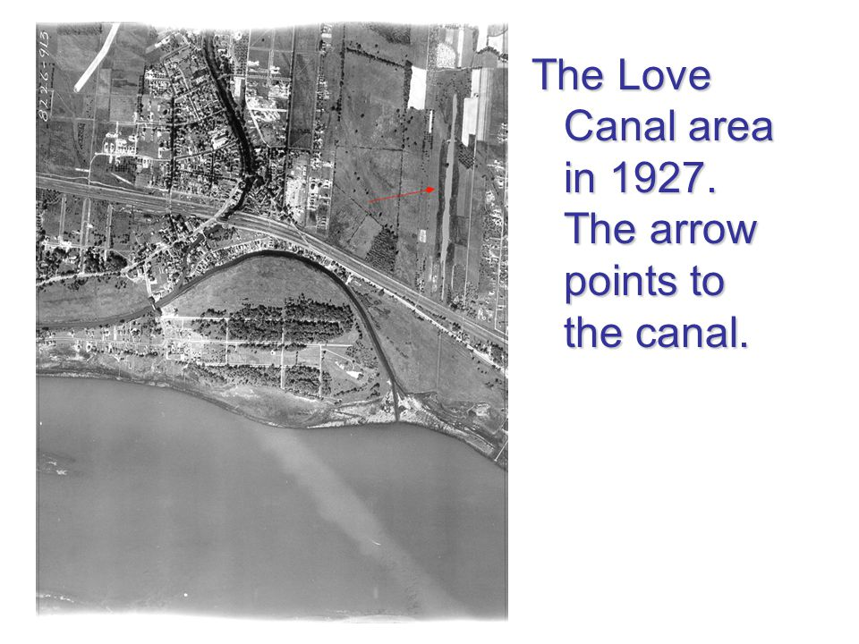 The Love Canal area in 1927. The arrow points to the canal.