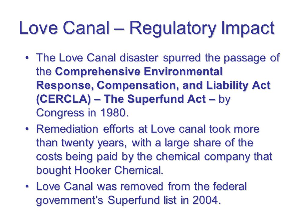 Love Canal – Regulatory Impact