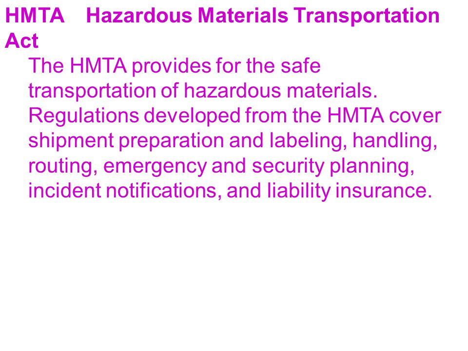 HMTA Hazardous Materials Transportation Act
