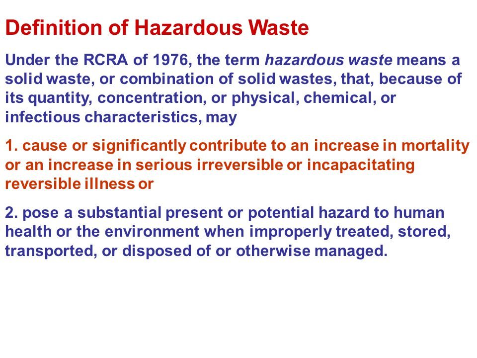 Definition of Hazardous Waste