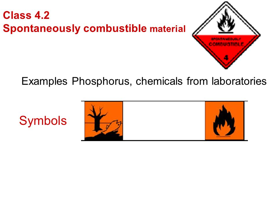 Symbols Class 4.2 Spontaneously combustible materials