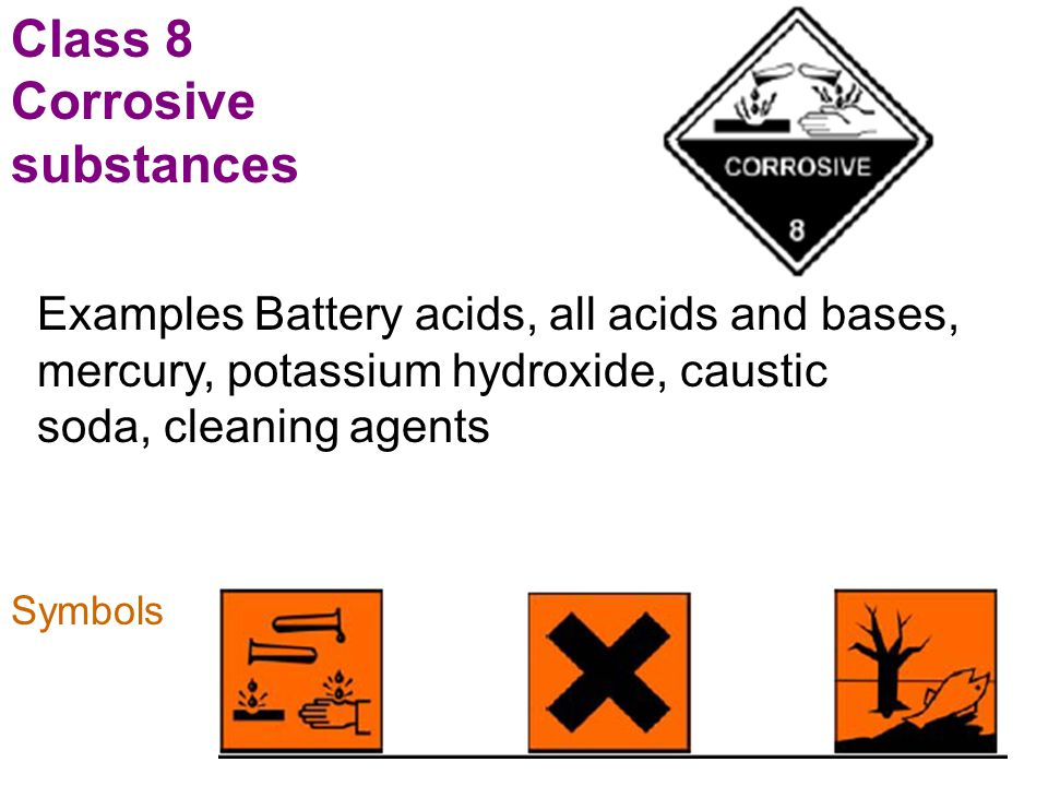 Class 8 Corrosive substances