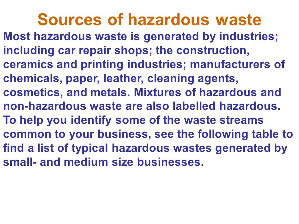 Sources of hazardous waste