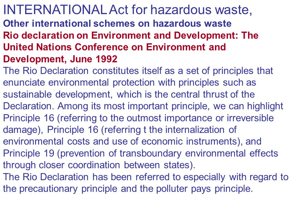 INTERNATIONAL Act for hazardous waste,