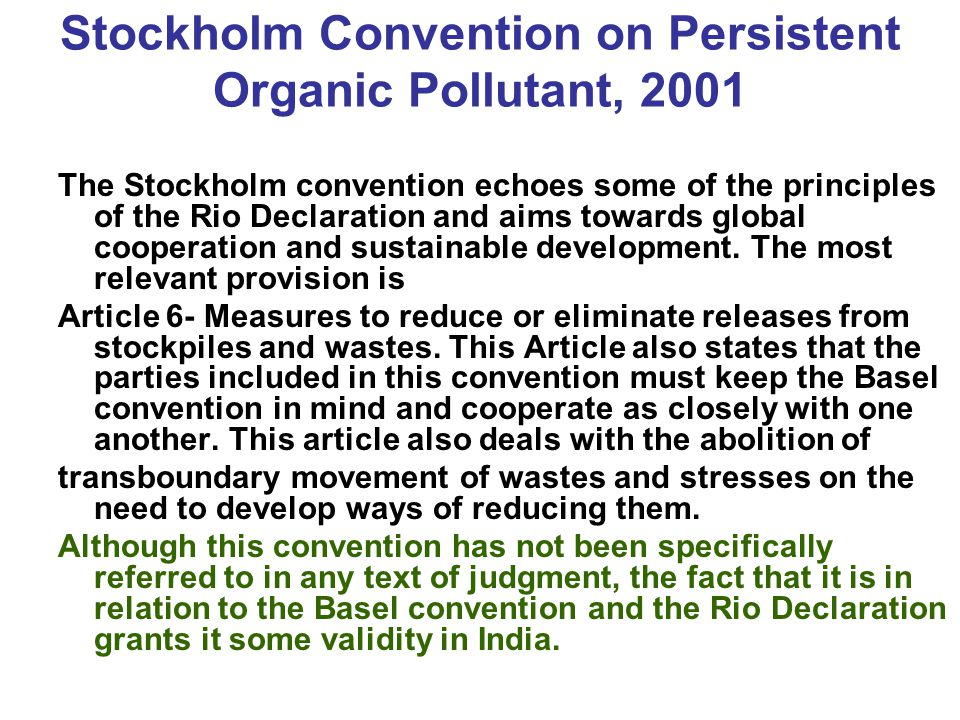 Stockholm Convention on Persistent Organic Pollutant, 2001