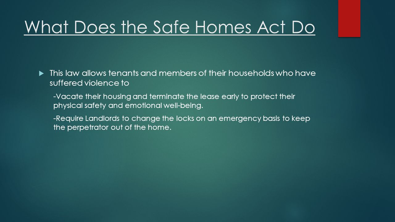 What Does the Safe Homes Act Do