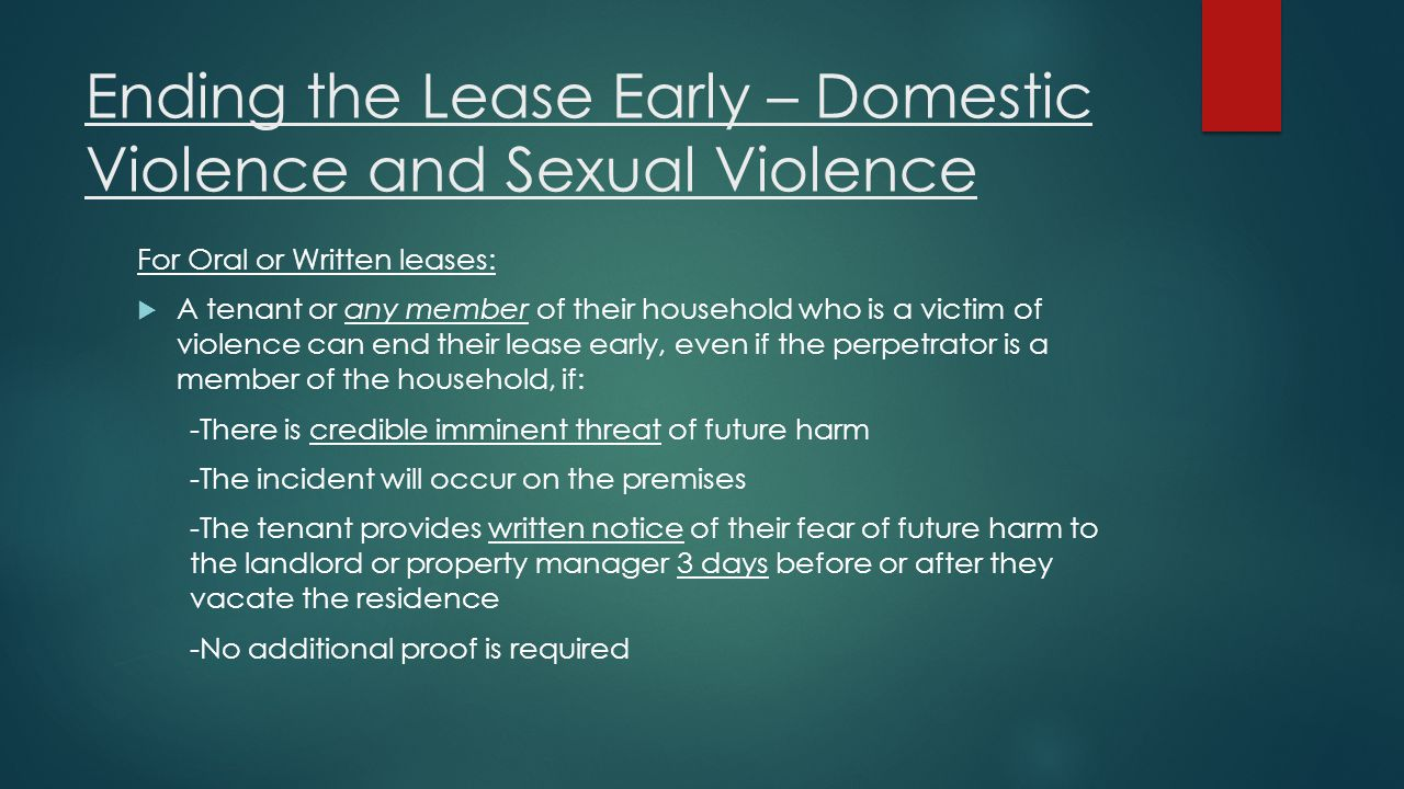 Ending the Lease Early – Domestic Violence and Sexual Violence