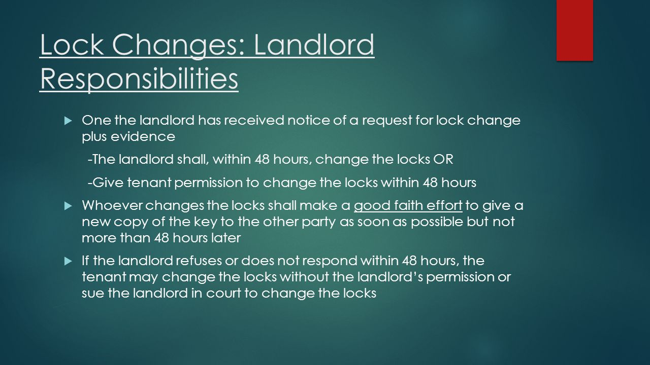 Lock Changes: Landlord Responsibilities