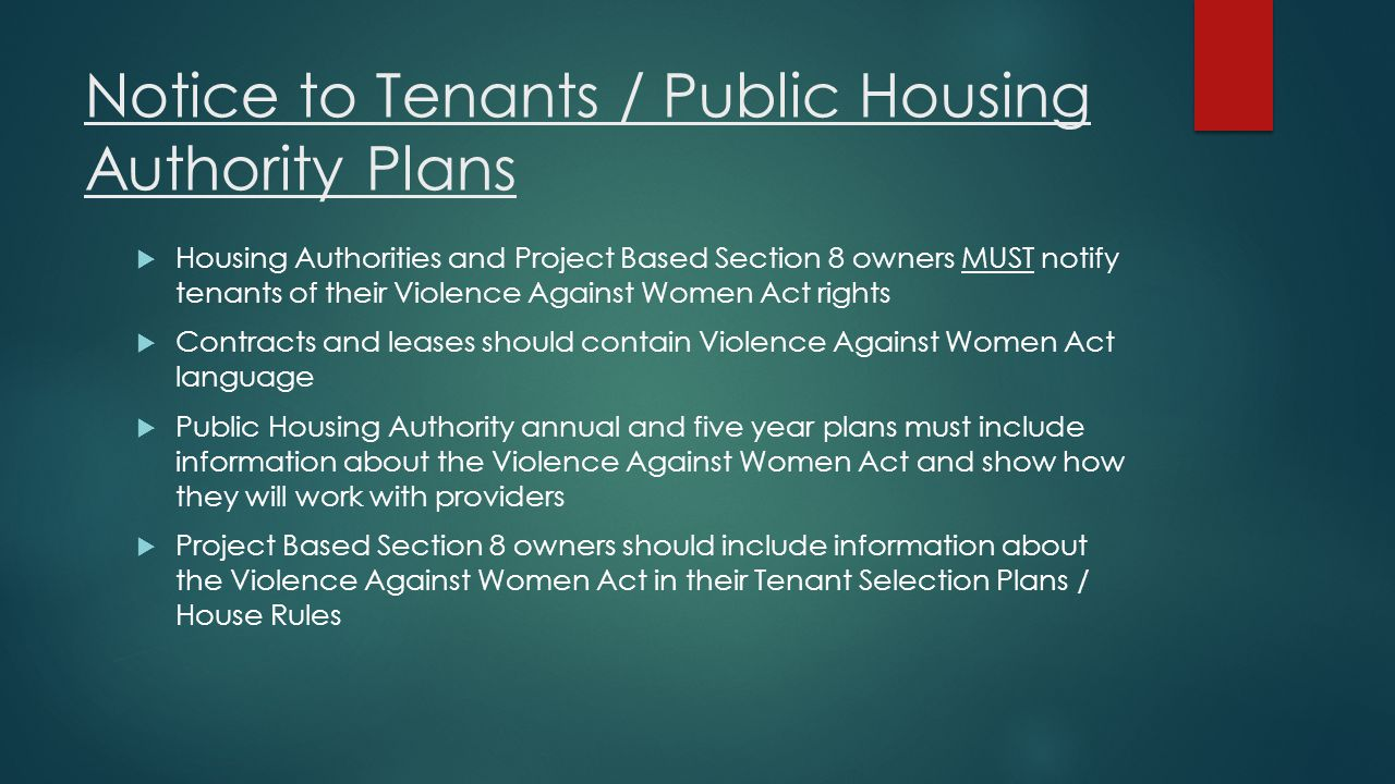 Notice to Tenants / Public Housing Authority Plans