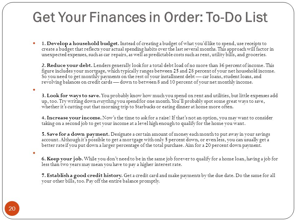Get Your Finances in Order: To-Do List