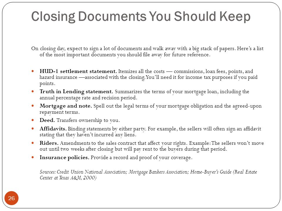 Closing Documents You Should Keep