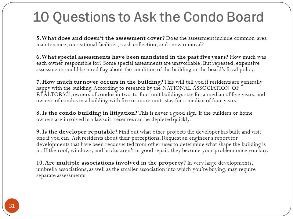 10 Questions to Ask the Condo Board
