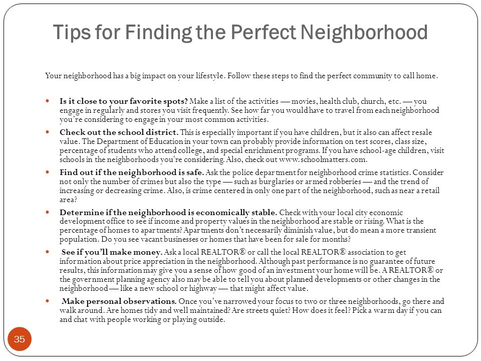 Tips for Finding the Perfect Neighborhood