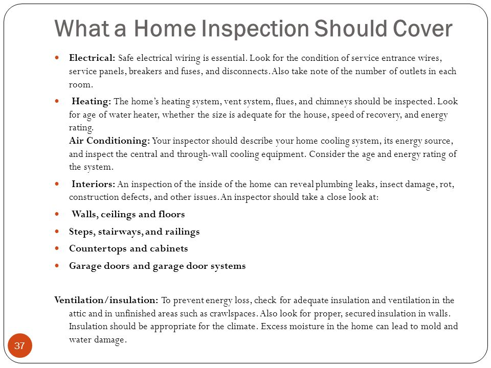 What a Home Inspection Should Cover