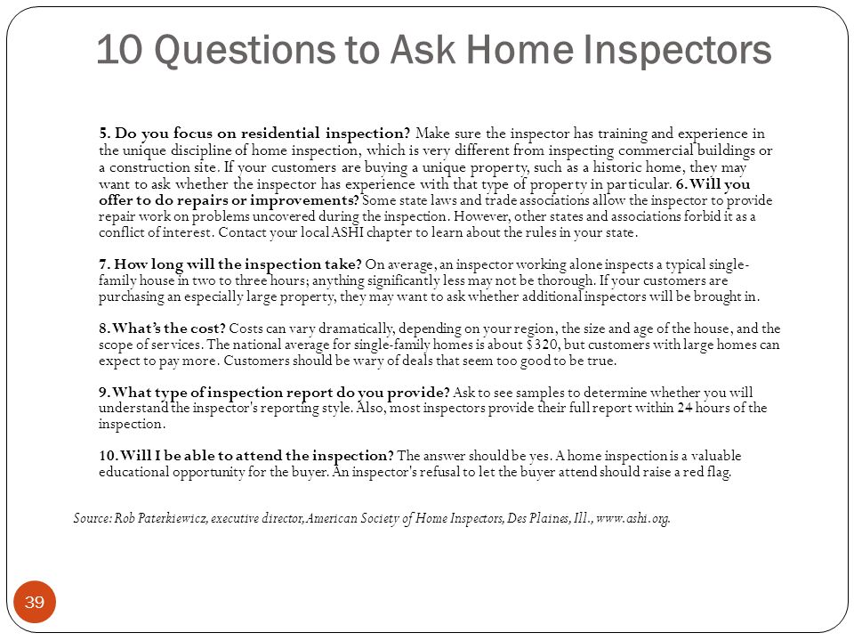 10 Questions to Ask Home Inspectors