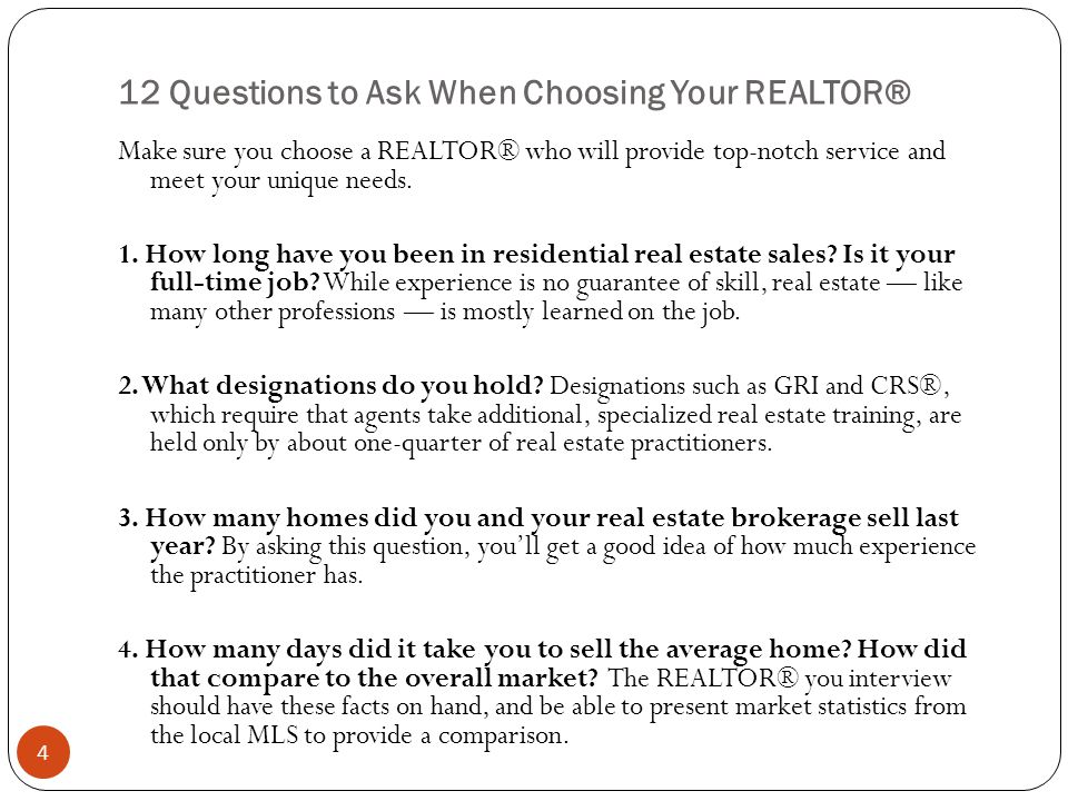 12 Questions to Ask When Choosing Your REALTOR®