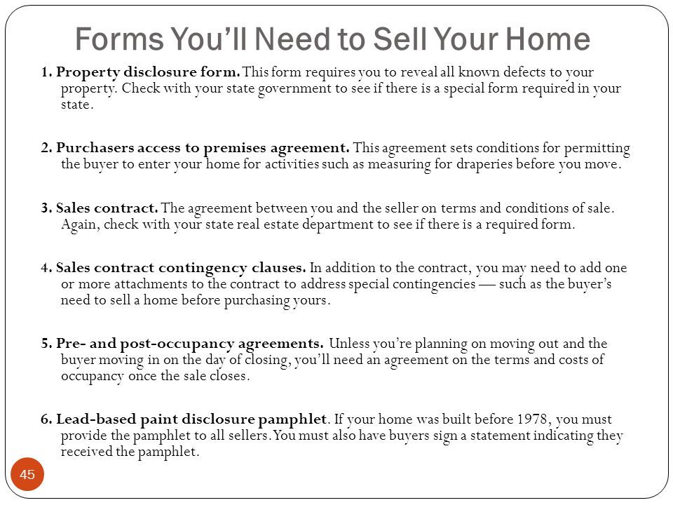 Forms You'll Need to Sell Your Home