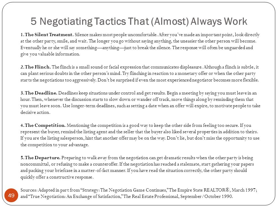 5 Negotiating Tactics That (Almost) Always Work