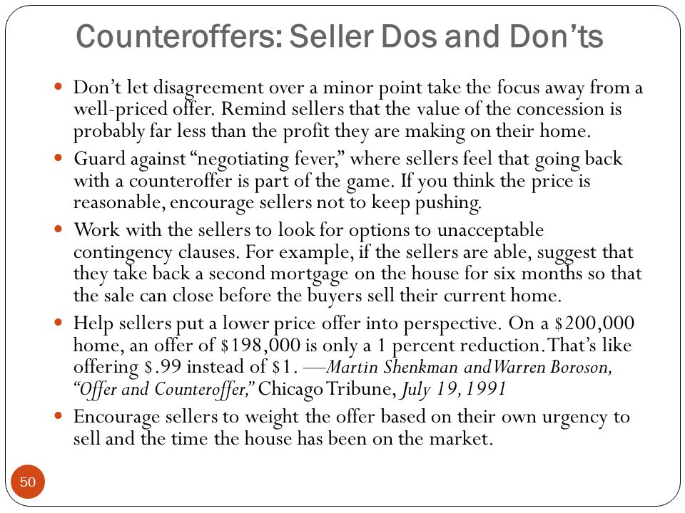 Counteroffers: Seller Dos and Don'ts