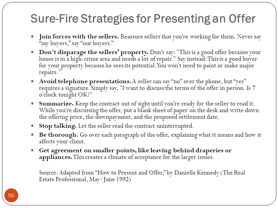 Sure-Fire Strategies for Presenting an Offer