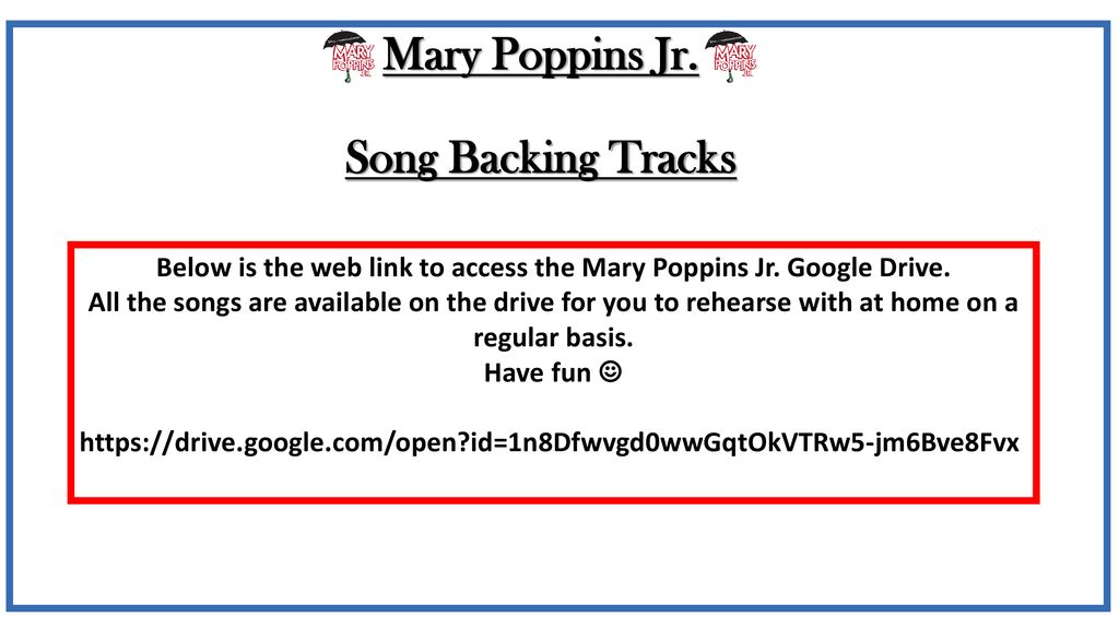 Mary Poppins Jr  REHEARSALS - ppt download
