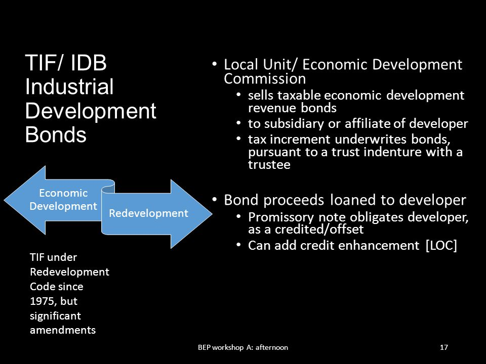 TIF/ IDB Industrial Development Bonds