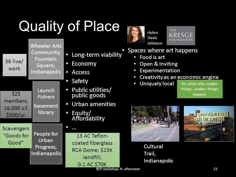 Quality of Place Spaces where art happens Long-term viability Economy