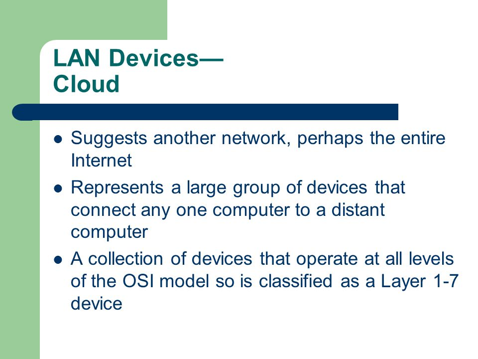 LAN Devices— Cloud Suggests another network, perhaps the entire Internet.