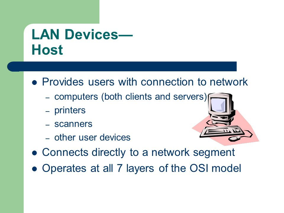 LAN Devices— Host Provides users with connection to network