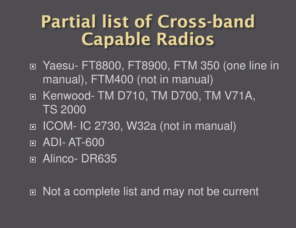 Cross Band Repeaters for Emergency Communications - ppt download