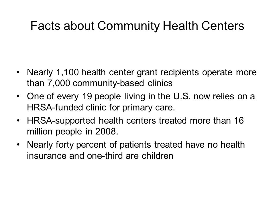 Facts about Community Health Centers