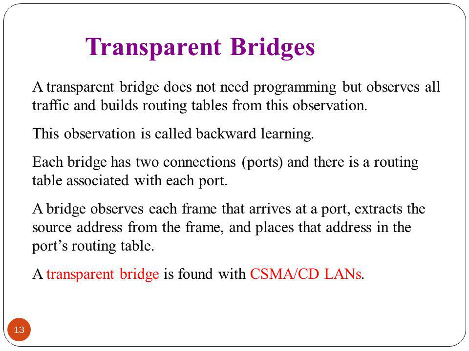 Transparent Bridges A transparent bridge does not need programming but observes all traffic and builds routing tables from this observation.
