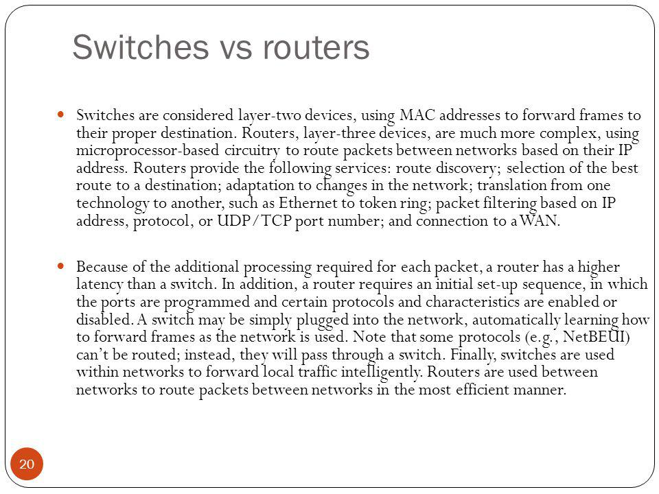 Switches vs routers