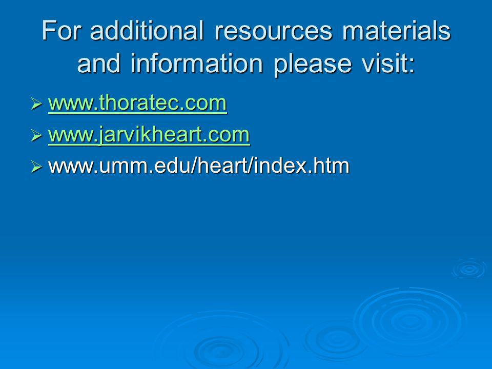 For additional resources materials and information please visit: