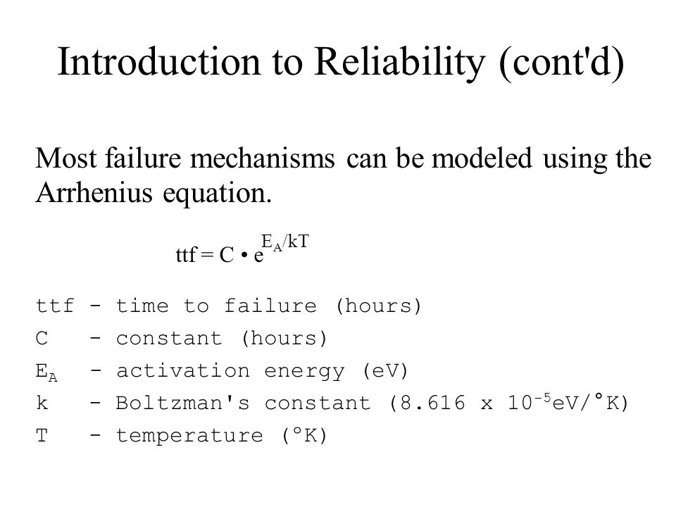Introduction to Reliability (cont d)