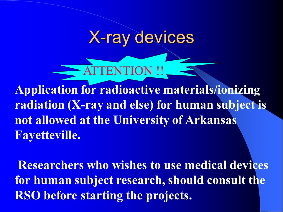 X-ray devices ATTENTION !!