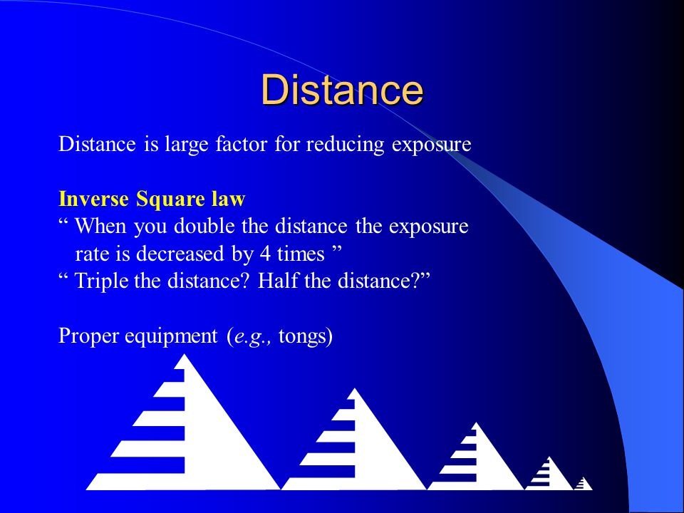 Distance Distance is large factor for reducing exposure