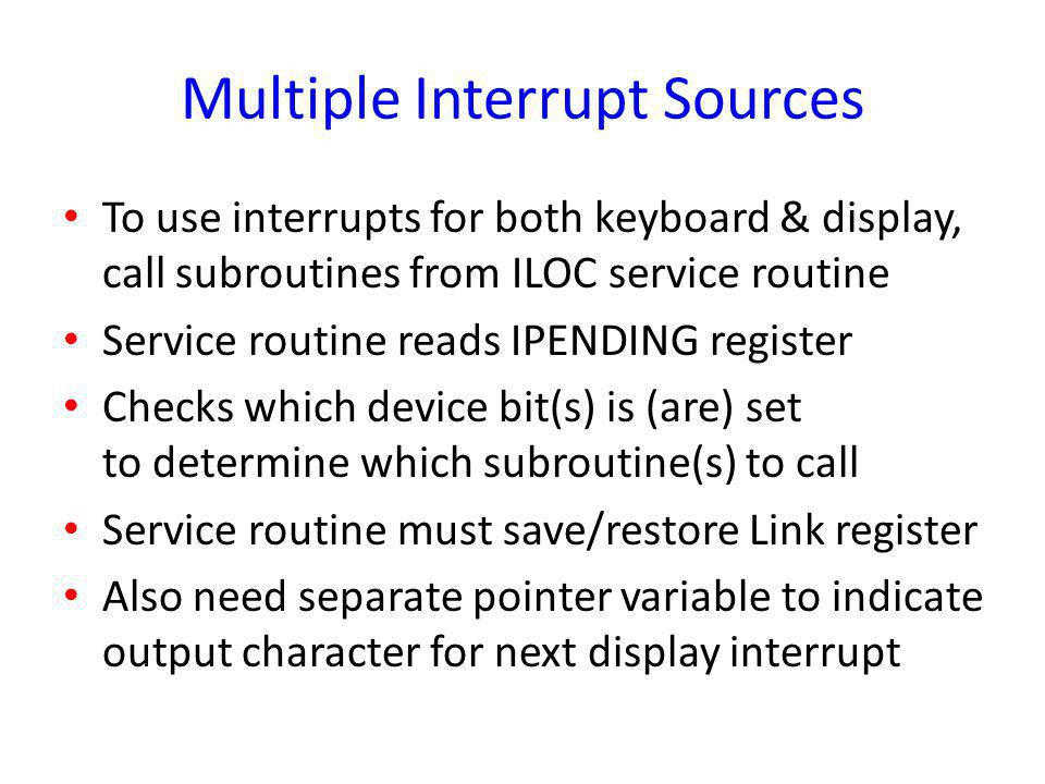 Multiple Interrupt Sources