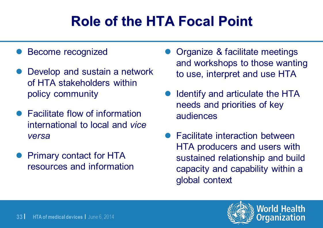 Role of the HTA Focal Point